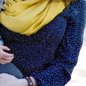 LOFT: Navy Polka dot shirt